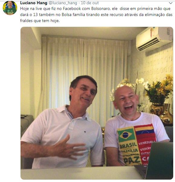 Postagem de Luciano Hang, da Havan, no Twitter, em 10 de outubro